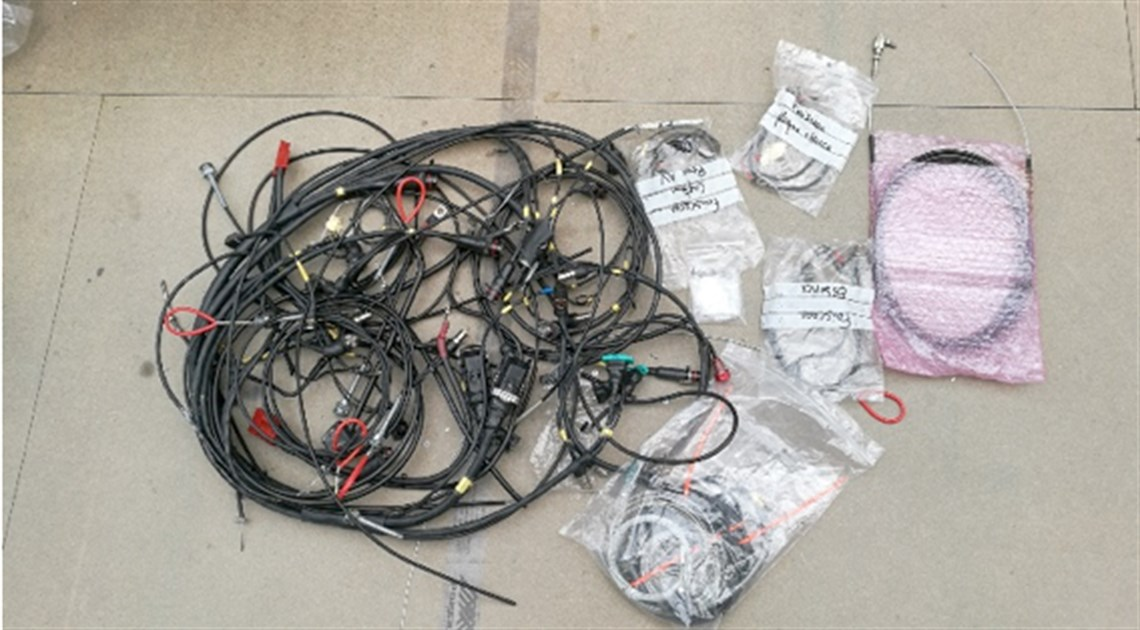 Wiring looms, fuel loom, fuel plate loom, wheel sensor loom, cable loop for extinguisher + cable